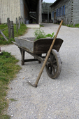 Wheelbarrow and Hoe at a garden, Fort Michilimackinac, Mackinaw City, Michigan