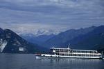 Ferry boat on Lake Maggiore, Lake Maggiore, Tuscany, Italy