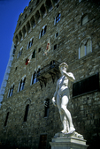 Palazzio Vecchio with Statue of David, Florence, Italy