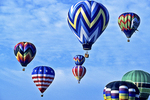 Hot Air Balloons in Sky, Seymour, Wisconsin