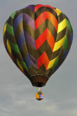 Stripped Hot Air Balloon in Sky, Seymour, Wisconsin