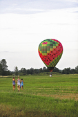 Hot Air Balloon and Girls in Field, Seymour, Wisconsin