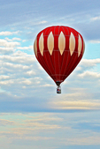 Red and White Hot Air Balloon in Sky, Seymour, Wisconsin