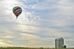 Hot Air Balloon Floating over Silo, Seymour, Wisconsin