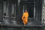 Monk at Window at Angkor Wat, Siem Reap, Cambodia