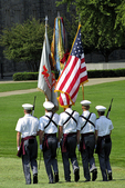 West Point Color Guard in Parade, West Point Military Academy, West Point, New York
