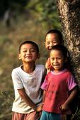 White Karen village children having fun, Northern Thailand