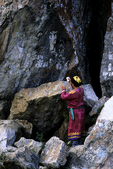 Shaman at Sacred Rock, Olkhon Island, Lake Baikal, Siberia, Russia