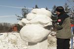 Snow Sculpture and Artist, Kohler, Wisconsin