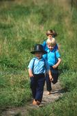 Amish Children Having Fun at Auction, Bonduel, Wisconsin