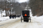 Amish Children and Buggy in Winter, Columbia County, Wisconsin