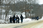 Amish Children Walking on Road in Winter, Columbia County, Wisconsin