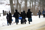 Amish Children Walking Home From School in Winter, Columbia County, Wisconsin