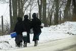 Amish Girls Walking Home from School, Columbia County, Wisconsin