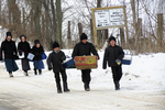 Amish Children Going Home From School in Winter, Columbia County, Wisconsin