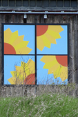 """""""Sunflowers"""" Barn Quilt Up Close, #124, Cecil, Shawano County, Wisconsin"""