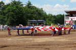 Girls Holding Large American Flag, Mid-Western Rodeo, Manawa, Wisconsin