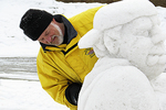Snow Sculpture and Carver, Fire & Ice Festival, Sturgeon Bay, Wisconsin