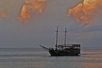 Pirate Ship at Sunset, San Miguel, Cozumel, Mexico