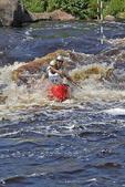 Canoe Racing Pair in Rapids, Wausau, Wisconsin