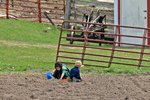 Amish Farm & Children Playing In Dirt, Columbia County, Wisconsin