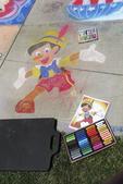 Pinocchio in Chalk on Sidewalk, Chalk Fest, Wausau, Wisconsin