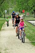 Family of Bikers on Elroy-Sparta Bike Trail, Sparta, Wisconsin