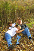 Boys in Fall Leaves With Grandpa, Appleton, Wisconsin
