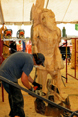 Chainsaw Carver at Work, US Open Chainsaw Sculpture Championship, Eau Claire, Wisconsin