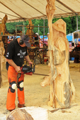Wizard Chainsaw Carving and Carver, US Open Chainsaw Sculpture Championship, Eau Claire, Wisconsin