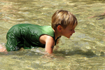 Boy in Water Fountain at City Park, Appleton, Wisconsin