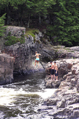 Jumping in the Eau Claire River at the Dells of the Eau Claire, Town of Plover, Marathon County, Wisconsin