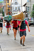 Carrying Canoes Up Hill to Lake Monona, Paddle & Portage Event, Madison, Wisconsin