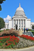 Wisconsin Capitol Building, Statue and Flowers, Madison, Wisconsin