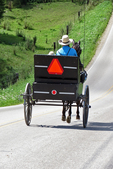 Amish Dad and Son in Buggy on Road, Vernon County, Wisconsin