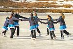 Skating Team Practicing On Wood Lake, Kohler, Wisconsin