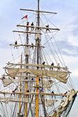 Fixing Sails on Tall Ship, Tall Ship Festival, Leicht Memorial Park, Green Bay, Wisconsin