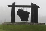 Wisconsin Sign in Fog, Marinette, Wisconsin