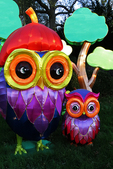 Owl Family, China Lights, Boerner Botanical Gardens, Milwaukee, Wisconsin