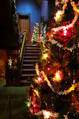 Hearthstone Historic House Museum Staircase and Christmas Trees, Appleton, Wisconsin