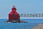North Pierhead Lighthouse, Lake Michigan, Sturgeon Bay, Wisconsin