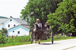Amish Family in Buggy near Farm, Green Lake County, Wisconsin