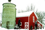 Barn and Silo in Snow Storm, Fremont, Wisconsin
