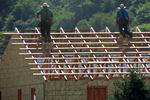 Amish Men Building Home Near Cashton, Wisconsin