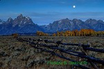 Grand Tetons, fence, full moon, fall, Wyoming (SC205)