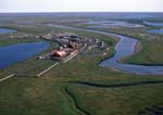 Aerial of Alpine Oil Development on north slope of Alaska, operated by Phillips Alaska, Inc.