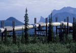 Trans Alaska Pipeline winds through Brooks Range, Sukakpak Mountain in background.
