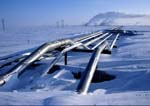 Oil flowlines cross snow-covered tundra in winter, oil facilities in background.