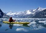 Woman kayaking among icebergs in Johns Hopkins Inlet.
