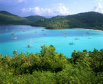 Maho Bay with boats at anchor. St. John Island. Virgin Islands National Park. U.S. Virgin Islands.